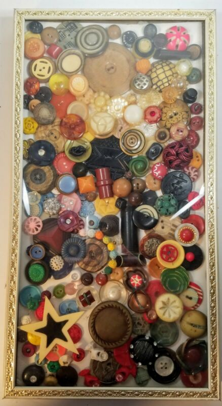 Vintage Button Collection Framed Collage Art Bakelite Plastic Novelty Shadow Box