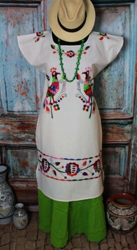 Huipil Dress Multi-Color Hand Embroidered Peacocks Huautla Oaxaca Mexico Hippie