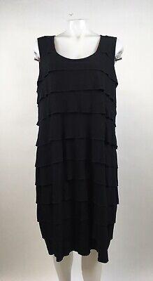 Calvin Klein Size 20W Black Shift Dress Layered Ruffle Dress