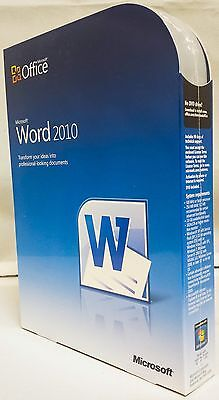Microsoft Word 2010 Full Retail Box Part Number 059-07628