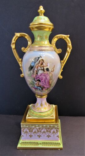 Antique Royal Vienna Lidded Urn w/ Maiden, Cherubs & Peacock Great Pastel Colors