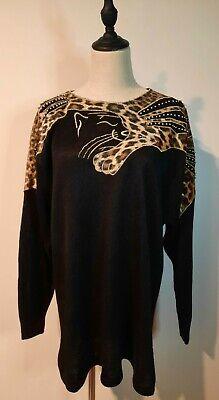 80s Sweatshirts, Sweaters, Vests | Women VINTAGE 80'S ~ Pierre Cavaollo Black Leopard Applique Gold Beaded Knit Top L  $55.68 AT vintagedancer.com