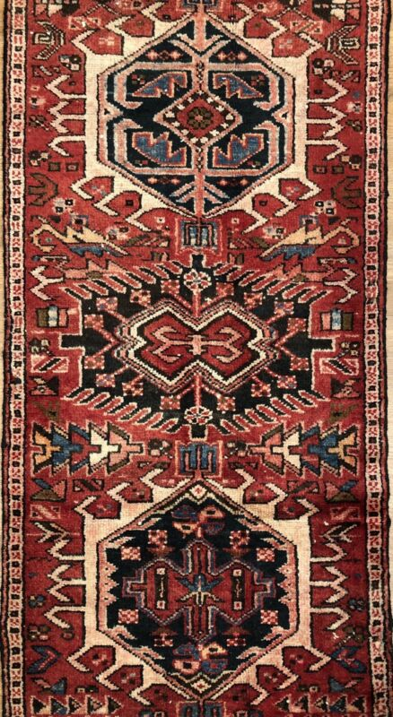 Terrific Tribal - 1940s Antique Oriental Runner - Nomadic Rug - 2.4 X 10.5 Ft
