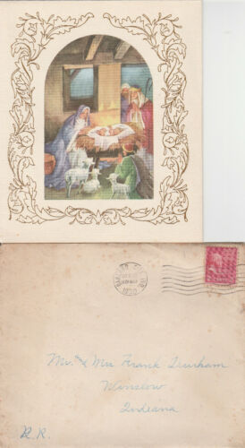 1950 Christmas greeting card with posted envelope