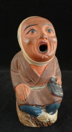"Japanese Painted Pottery Incense Burner.Seated Man, Early 20th c. 3 5/8"" tall"