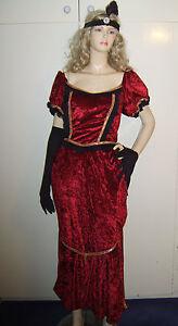 LADIES-EDWARDIAN-VICTORIAN-SALOON-WESTERN-FANCY-DRESS-COSTUME-M-10-12-USED