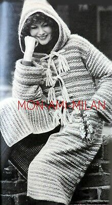Woven Hooded Coat Machine-Knitting Pattern Photocopy Ladies Boho Ethnic Peasant for sale  Shipping to Nigeria