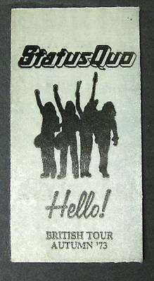 STATUS QUO Hello! Autumn 1973 British Tour PROMO Only STICKER Unused MINTY!
