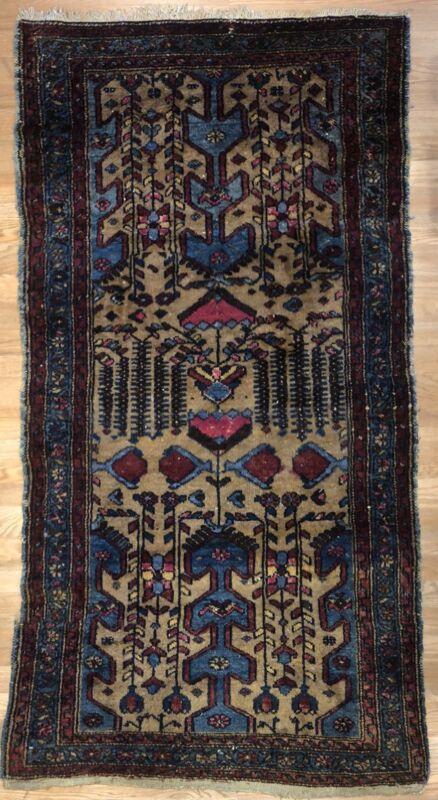 Terrific Tribal - 1920s Antique Camel Hair Rug - Oriental Carpet - 3.4 X 6.1 Ft.