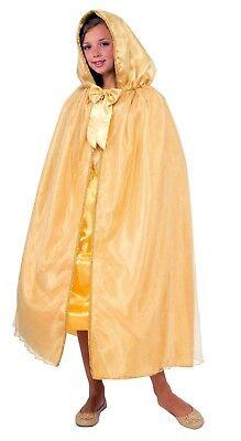 Child's Girls Hooded Princess Dress Up Costume Cape Gold Belle Beauty Beast