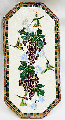 "Hummingbirds & Grapes Mosaic Wall Art Handmade Ceramic Tile Decor 12"" x 24"""