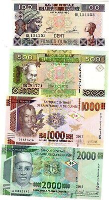 SET SERIE LOT 4 BILLETS Guinee GUINEA Francs 100 500 1000 2000 NEUF UNC