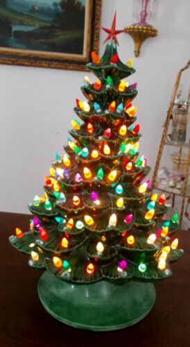 "CHRISTMAS TREE CERAMIC MOLD 18.5"" LIGHT UP 80+ BULBS"