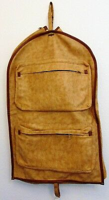 Vintage FS Original Luggage Suit Carier Bag Faux Leather Baige Tan Brown