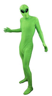 GRÜNER ALIEN GANZKÖRPERANZUG SKINSUIT MIT AUßERIRDISCHER BRILLE HALLOWEEN - Grün Skin Suit Kostüm