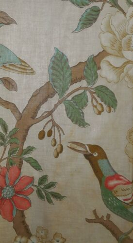 Antique French Floral Bird Tree of Life Chintz Cotton Fabric #2 ~ Celadon Coral