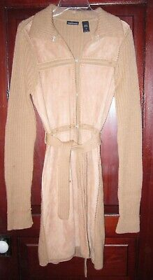 Moda International M Cardigan Sweater Coat Duster Patchwork Wool Thick Knit Tan