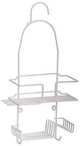 white plastic coated rustproof hanging shower caddy. Black Bedroom Furniture Sets. Home Design Ideas