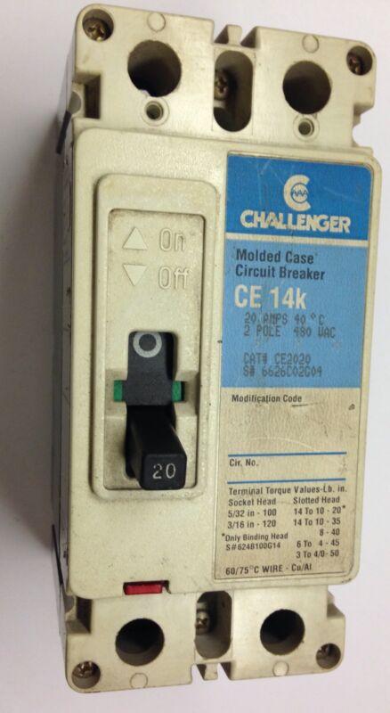 Challenger 20A Amp Circit Breaker 2 Pole CE2020 Cutler Hammer 14K Molded Case