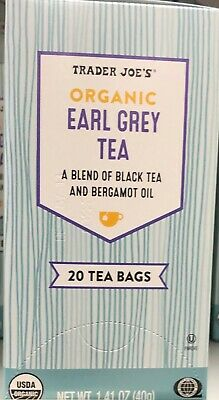TRADER JOE'S ORGANIC EARLY GREY TEA , KOSHER , 20 TEA BAGS