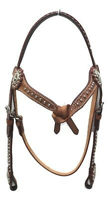 D.A. Brand Medium Oil Leather Futurity Brow w/Silver Spots Headstall Horse Tack