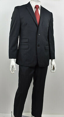 JOSEPH ABBOUD Charcoal Pinstriped Wool 2-Btn Flat Front Ticket Pocket Suit 42R