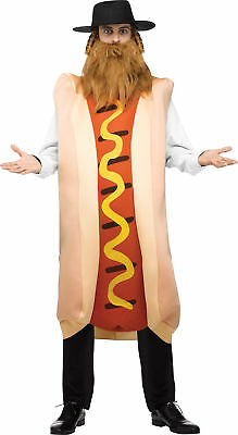 Men's Kosher Dog Costume Jewish Fancy Dress Hot Dog Rabbi Talis Hat Payis Beard](Jewish Costume)