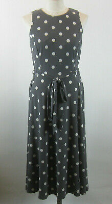 Lauren Ralph Lauren Womens 8 Gray White Polka Dot Dress