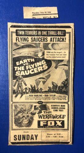 "1958 Horror ""Earth vs. The Flying Saucers"" Hugh Marlowe ""The Werewolf"" movie ad"