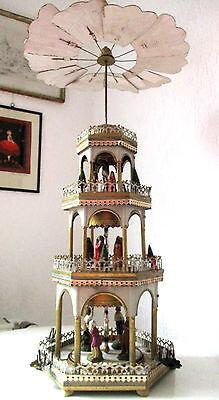 antike Weihnachtspyramide Erzgebirge Blech Pyramide um 1920 Weihnachtsgeschichte