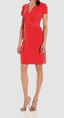 T TAHARI Trish Dress Jersey Sunset RED Deep V Tie Front/Back (Red Jersey Tie Dress)