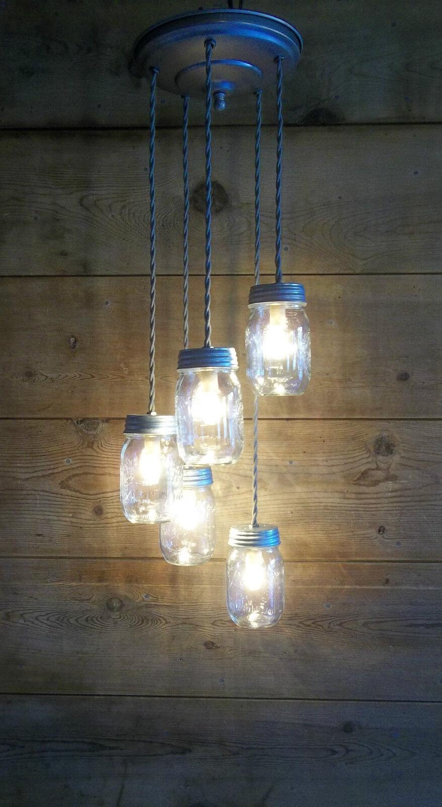 Farmhouse Light Fixture Mason JAR CHANDELIER Cottage Barn We