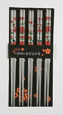 10 Chopsticks Steel Red Rose Flowers Design Beautiful Prints Gift Set