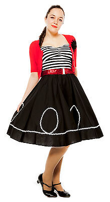 50s Style Black & White Ric Rac Circle Skirt - Party, Sock Hop, Swing - S to XL - Sock Hop Fashion