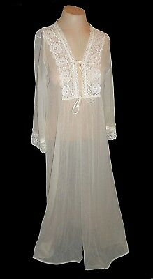 Vintage 1960s?, Robe, Gilead Ivory Lace long beautiful Nylon Mint 36