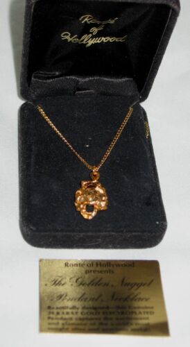 Ronte of Hollywood Golden Nugget 24 Karat Gold Electroplated Pendant Necklace