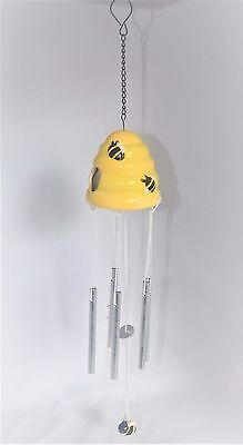 Little Bee Wind Chime Bird Feeder Yellow Seed Nectar Finch Outdoor Decor Yard