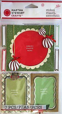 Woodland Frames Christmas Ornaments Pinecones Martha Stewart 3D Stickers