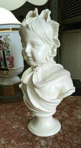 """Antique German Bisque Porcelain Girl Bust, 10"""" H."""