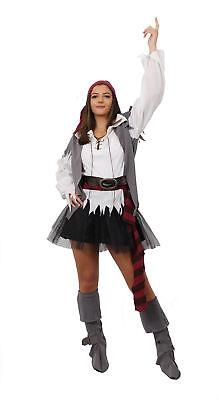 Pirat Tutu (ADULT LADIES PIRATE COSTUME WITH BLACK TUTU SKIRT FANCY DRESS)