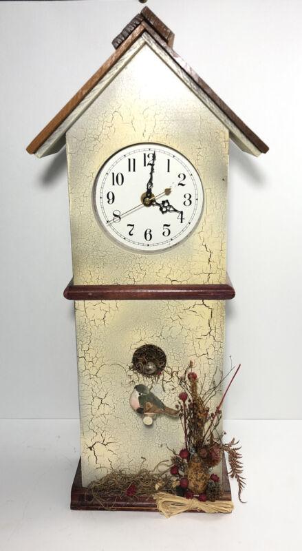 """Wood birdhouse clock- 20"""" Table/Wall clock- shabby chic country farm house decor"""