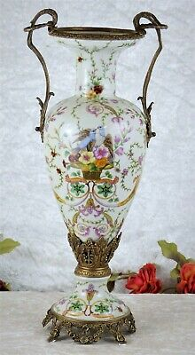 Porzellanvase Jugendstil Prunkgefäß Porzellan Bronze Vase Antik Amphore Tauben