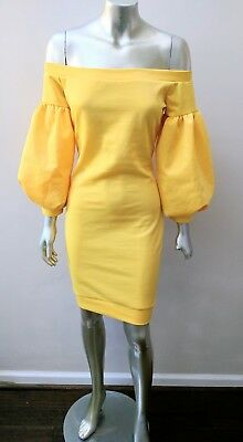 COTTON BLEND OFF SHOULDERS PUFF SLEEVES BOHO MOD FITTED SHEATH DRESS sz M Puff Sleeve Cotton Blend