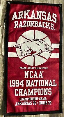 Arkansas Razorbacks Basketball 1994 NCAA  National Championship Banner Arkansas Razorbacks Ncaa Basketball