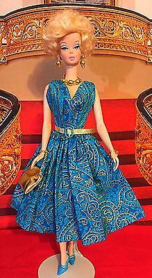 Barbie Silkstone Handmade Fashion Gold And Turquoise Dress With Jewelry Purse