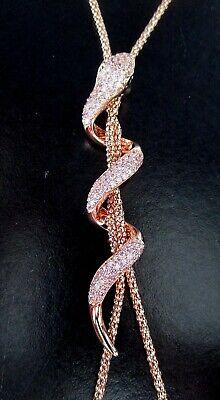 BUTLER & WILSON Rose Gold Tone Pink Swarovski Crystal Snake Lariat covid 19 (Gold Tone Snake Necklace coronavirus)
