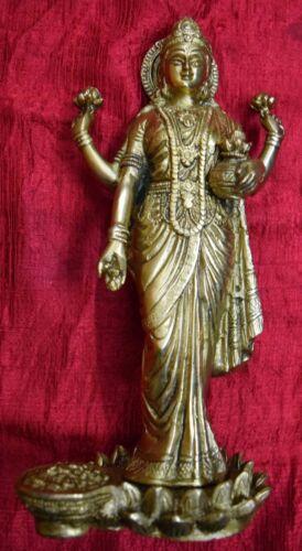Brass Lakshmi Statue Goddess Of Wealth And Prosperity Handmade Figurine RU21