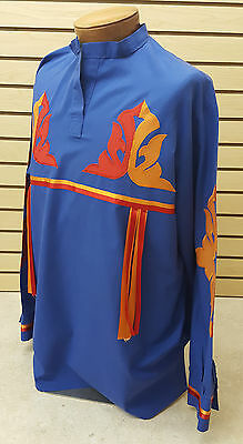 NICE HOMEMADE 2XL BLUE LONG SLEEVE NATIVE AMERICAN INDIAN RIBBONWORK DANCE SHIRT