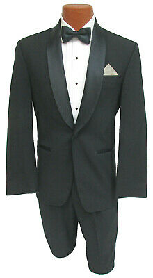 Men's Black Tuxedo with Pants Satin Shawl Lapel Cheap Prom Wedding Mason Tux  - Prom Suit