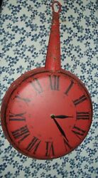 Metal Vintage-Looking Red Distressed Kitchen Skillet Clock roman numbers 20-5/8
